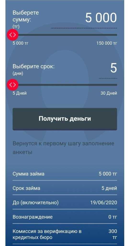 MoneyExpress_11_параметры микрозайма